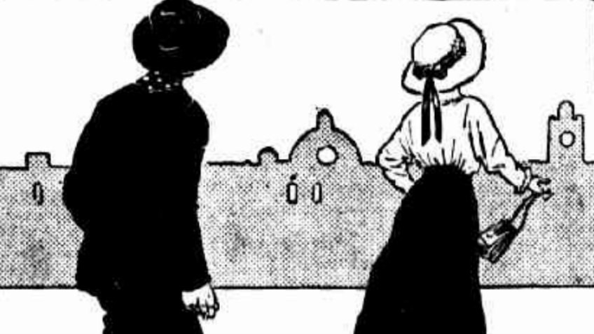 cartoon of man wearing hat and woman with hat and reticule