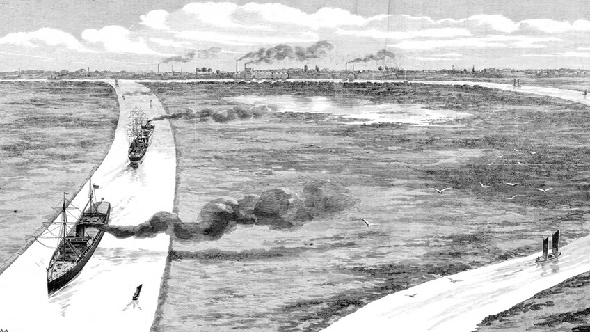 Wood engraving of two branches of a river, with ships along one branch and a city in the distance