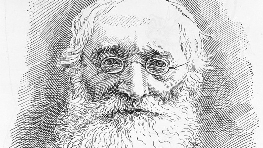 Engraving of bespectacled, bearded elderly man from the late Victorian era