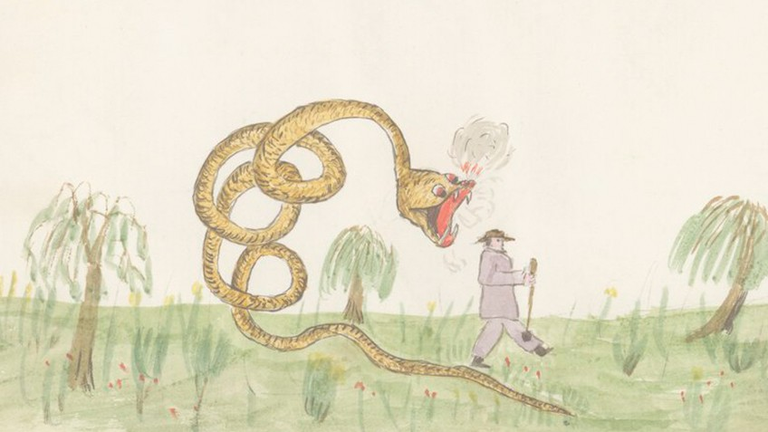 A big coiled snake rears up with its jaws open to eat a comparatively small man