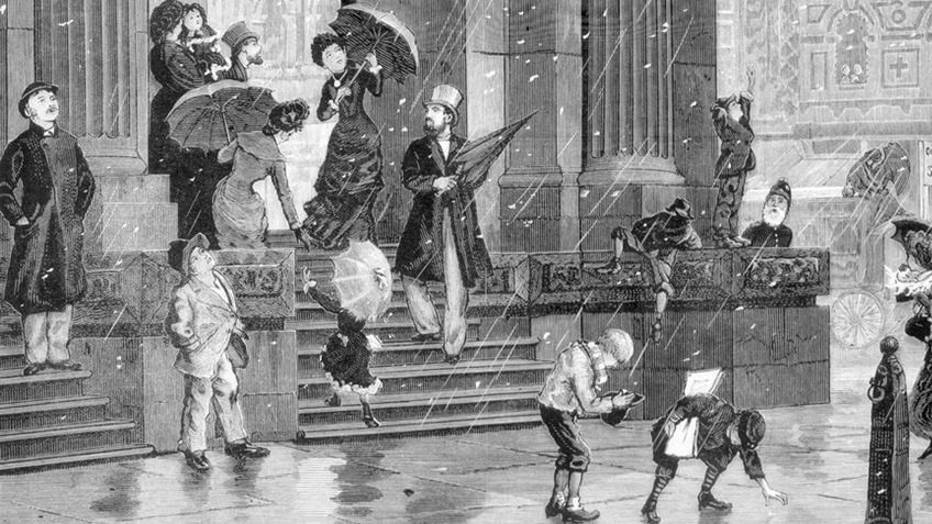 Etching of snow falling on GPO steps in Melbourne, 1882