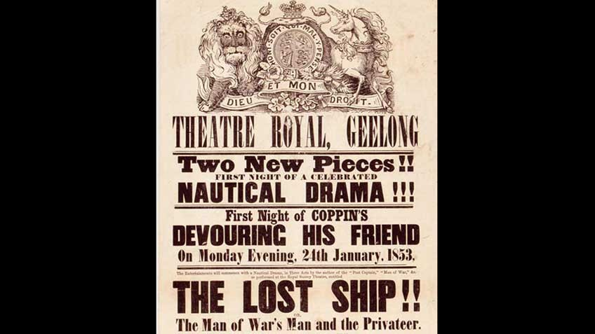 Poster advertising a Geelong theatrical bill, 1853
