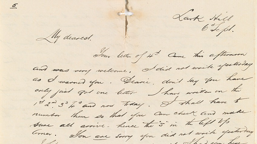 Letter in cursive handwriting, beginning 'My dearest'