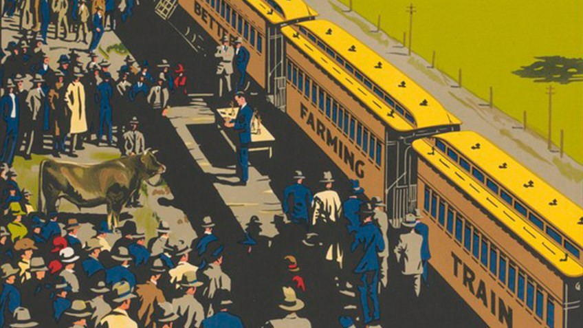 detail from colourful poster with train surrounded by people and paddocks