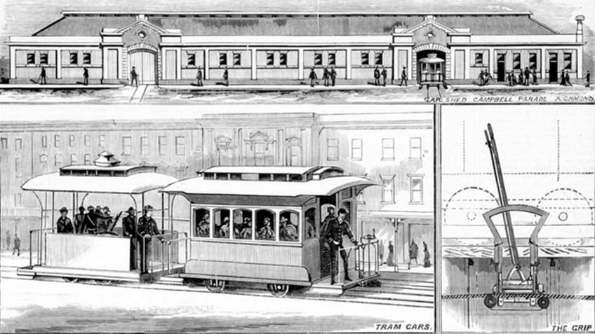 black and white engraving of 1880s cable tram, engine house and gears