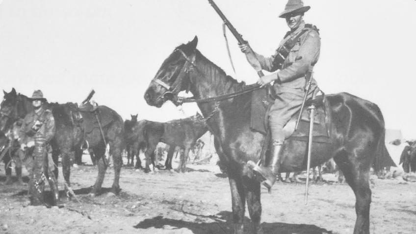 Sergeant George Auchterlonie astride his horse Paddy