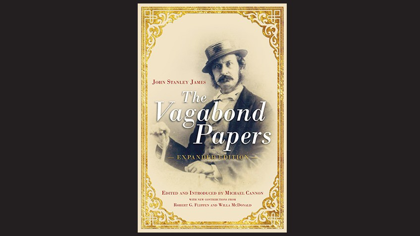 Book cover of the Vagabond Papers by Michael Cannon, with black and white photo of 19th-century writer known as the Vagabond