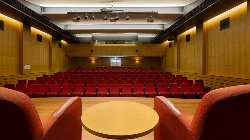 Theatrette from the stage with armchairs and rows of red seats