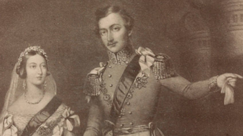 sepia 19th-century portrait of queen wearing crown and sash and prince with moustache and medals