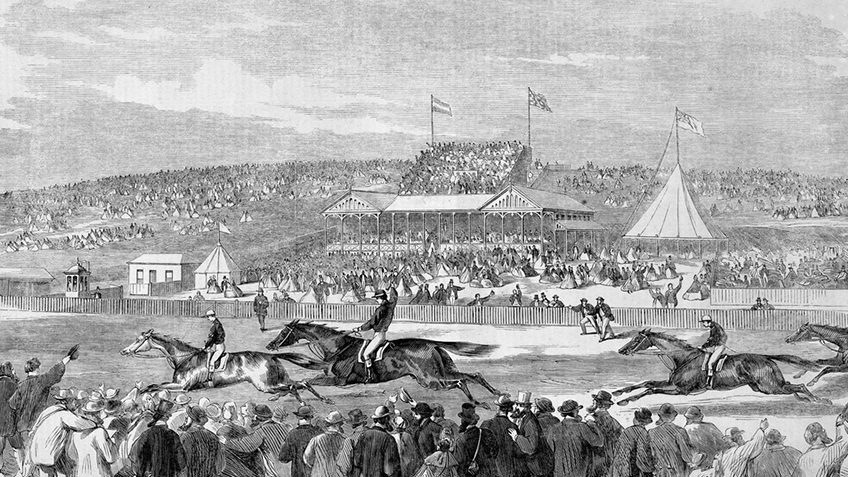 etching of horses racing at a racecourse with grandstands, marquees and crowds