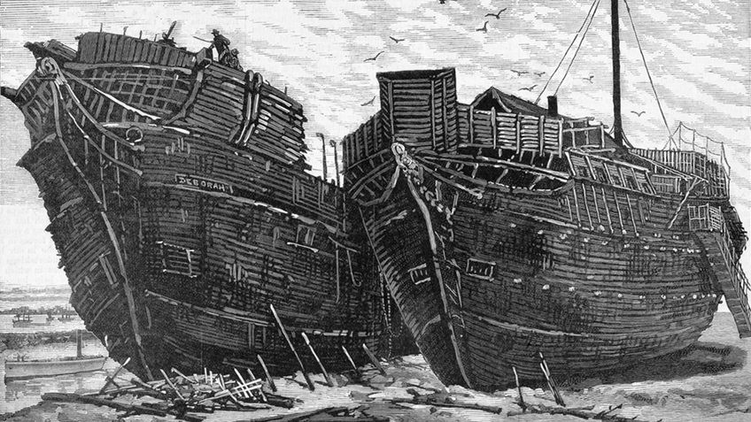 Black and white engraving of a beached ship used as a prison in the 1850s