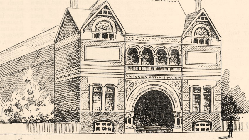 Shows the exterior of the Victorian Artists Society building