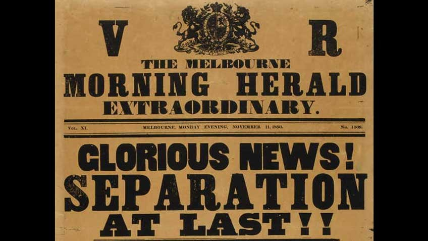 Poster celebrating Victoria's separation from New South Wales, 1850