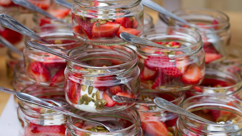 Photo of breakfast food with strawberries