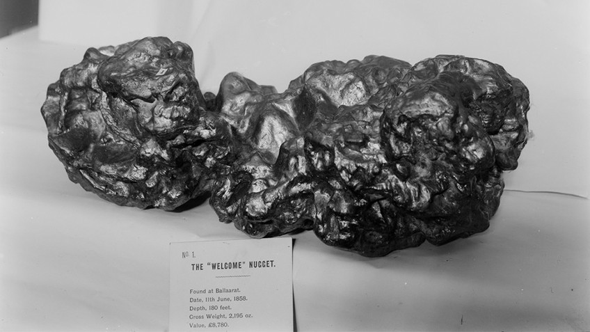 gold specimen with label detailing the nugget's finding in Ballarat in 1858