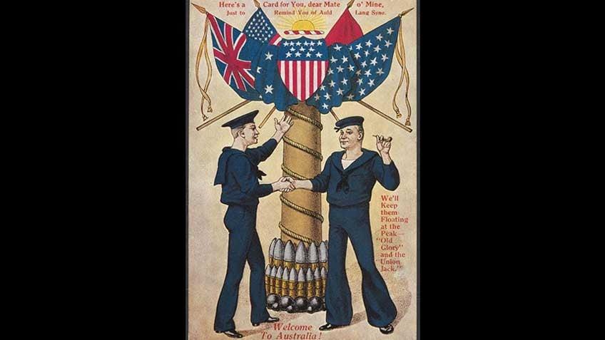 Postcard honouring the American Fleet's visit, 1908
