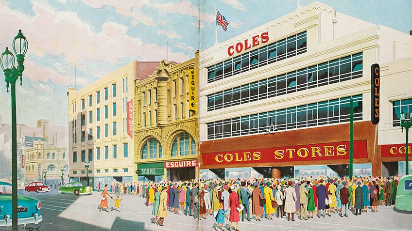 1950s colour drawing of Coles Stores with crowds of shoppers
