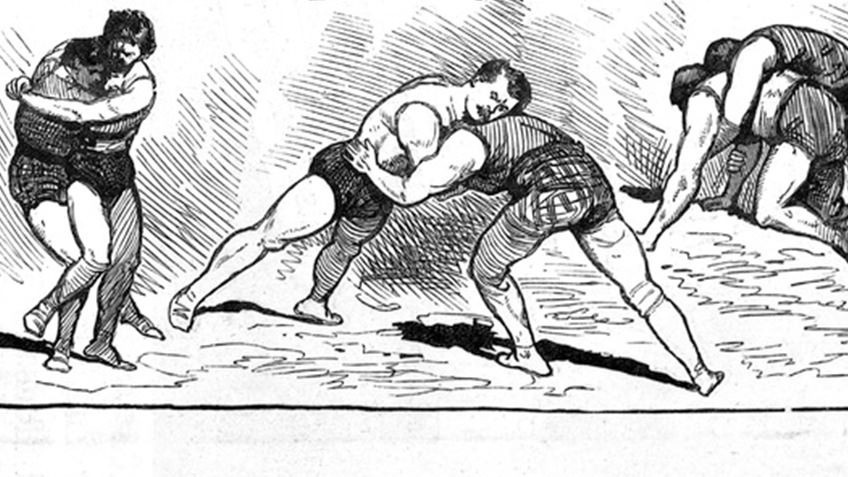 Black and white drawings of men wrestling with each other