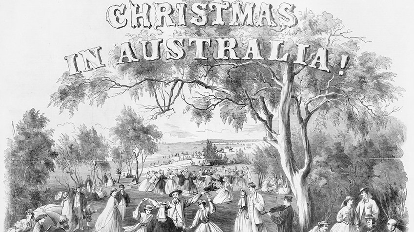 Newspaper etching of families picnicking under gumtrees in the mid-19th century