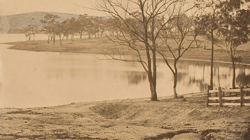 Sepia photo of Yan Yean Reservoir