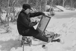 Artist John Lockston painting at Mount Buffalo, 1955