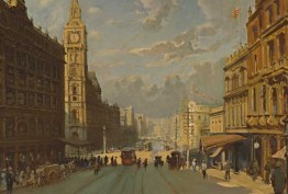 This view of Bourke Street looks east toward Elizabeth Street. The buildings on the right are the Metropole Hotel and Arcade, which have since been replaced by the Commonwealth Bank building on the corner of Elizabeth Street.