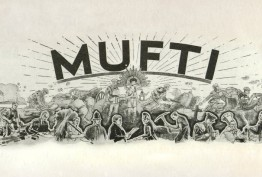 Black and white image featuring the word MUFTI and drawings of soldiers and civilians