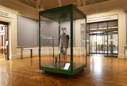 Armour of Ned Kelly in a glass display box