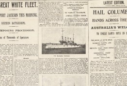 historical newspaper from WWI with Great White Fleet headline