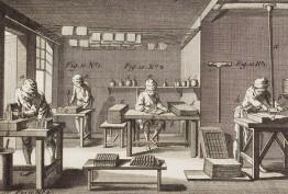 Engraving of printers operating a medieval printing press