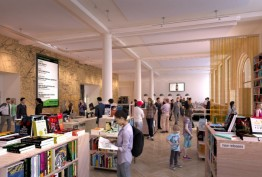 architects' mock-up of library foyer with bookstall and people browsing books or moving through the space