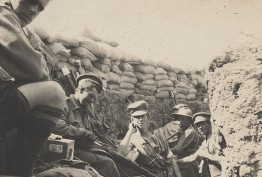 sepia photo of WWI soldiers in a trench