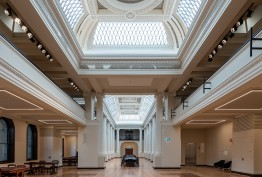 long view of grand hall with skylights and coffered ceiling