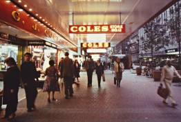 Colour photo of Coles Bourke Street Mall store c late 1970s featuring shoppers and passers-by