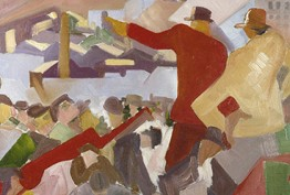 A painted image of industry workers rallying together