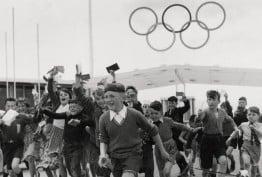 Autograph hunters at the athletes' village, Heidelberg, 1956