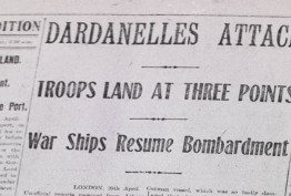 """Photo of a newspaper article titled """"Dardanelles Attack"""""""