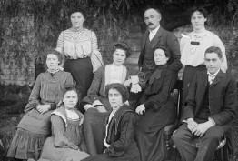 Family group in a garden