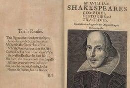 Shakespeare folio with portrait