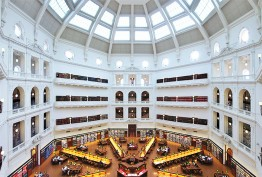 Photo looking down on the La Trobe Reading Room