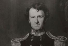 black and white crop of oil portrait of Governor La Trobe in uniform