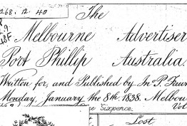 1838 edition of the 'Melbourne Advertiser'