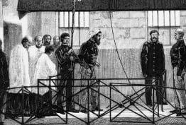 Black and white etching depicting the execution of bushranger Ned Kelly