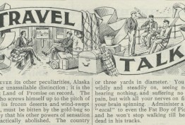 Newspaper snippet with the words Travel Talk, cartoons and text