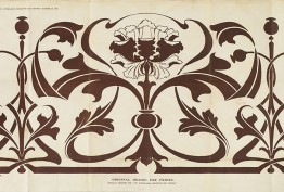 Sepia drawing of a 19th-century frieze detail for decorators featuring poppies