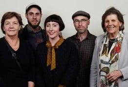 Colour photo of Patricia Cornelius, Eda Ritchie, Alexandra Macalister Bills, Dan Lee, Dan Giovannoni and Eda Ritchie, Chair of the RE Ross Trust