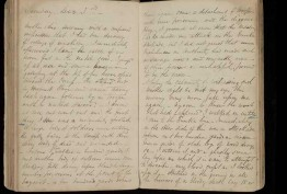 Double spread of Charles Evans' diary, 1854