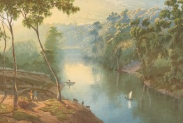 Colour print of painting by N Chevalier of the Yarra River at Studley Park by C Troedel & Co, 1865