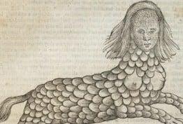 Medieval depiction of a lamia half-human half-beast