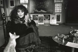 Black and white photograph of artist Vali Myers in her studio